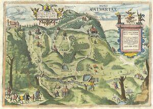 Antique maps, Mons Calvariea, Braun & Hogenberg, 1617,