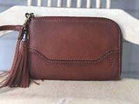 FRYE Paige Tassel Brown Cognac Leather Zip Wallet Wristlet Pouch Bag EUC!