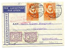 NED INDIE 1933-9-19  FLIGHT  COVER TO GERMANY -FLUGHAFEN STEMPEL    F/ VF