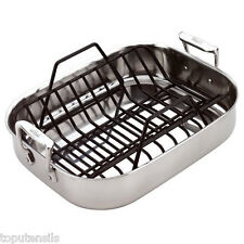 All Clad Stainless Petite Roti Roaster Pan Combo #5014 w/ Bonus Roasting Rack