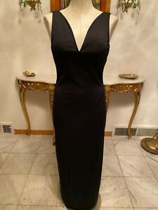 Vintage Newport News Black Long Dress with Wired V-Neck Front Women's Size: 10