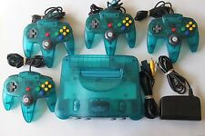 Ice Blue Nintendo 64 N64 Console Funtastic Series w/ 4 Official Controllers GOOD