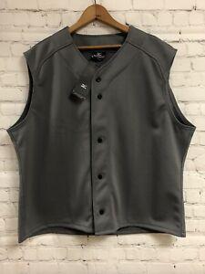 NWT Mizuno Performance XXL Gray Sleeveless Button Up Game Vest Jersey Collarless