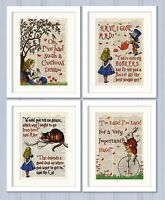 Set of 4 Alice in Wonderland Antique Book page Art Prints A4-Nursery Set3 Orange