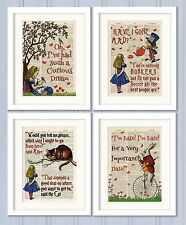 Set of 4 Alice in Wonderland Antique Book page Art Prints A4-Nursery Set3 Orange