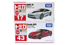 Lot of 2 Takara Tomy Tomica No.17 & 43 BMW i8 & Honda NSX Scale 1:62 Diecast Car