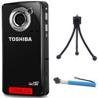 TOSHIBA Camileo B10 HD WEBCAM Pocket Camcorder 1080p +TRIPOD +SELFIE STICK NEW