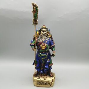 Collect Noble Cloisonne Warrior god Guan Gong Yu Hold Dragon Sword big Statue