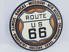 Round Metal Tin Sign Route 66 States Bar Pub Home Vintage Retro ART