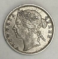 1896 Straits Settlements 10 Cent 0.800 Silver Circulated Coin Y#14   (772)