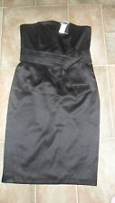 BNWT  STRAPLESS BLACK SATIN LINED CRUISE/EVENING DRESS Sz 12 M& CO COST£40    KL