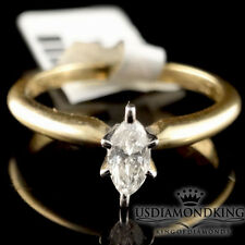 Real 14k Yellow Gold .27 CT Marquise Cut Diamond Solitaire Engagement Ring Band