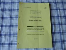 Military Radio User Handbook Wireless Set B 70 HAM RADIO