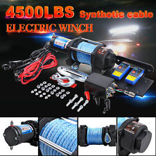 4500LBS/2040KG Electric Winch 12V Synthetic Rope 2 Wireless Remote ATV Boat 4WD