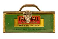 """Scarce  English """"Pall Mall"""" litho store display cigarette tin in good cond"""