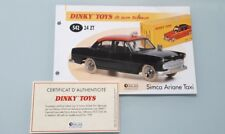 Dinky toys atlas 1/43 sheet paper certificate ref 542 simca Ariane taxi