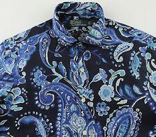 Men's POLO RALPH LAUREN Navy Blue White Paisley Linen Shirt L Large NWT NEW