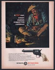 1968 Colt Frontier Scout Revolver Ad Cowboy at campfire