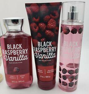 Bath & Body Works Black Raspberry & Vanilla  Gel, Body Cream & Mist Collection