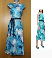 Jacques Vert Turquoise Printed Stripe Flare Race Cocktail Party Dress UK12 £159