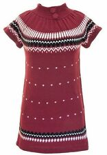 Burgundy Red Black And White Sweater Dress Junior Size L Large New With Tags