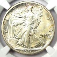 1916-D Walking Liberty Half Dollar 50C Coin - Certified NGC MS61 (BU UNC)