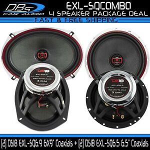 """DS18 6.5"""" 120W Car Door 2-Way Speakers + 6x9"""" 160W Rear Deck Fullrange Coaxials"""