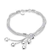 Women Fashion Tassel Heart Pendant Silver Plated Chain Bracelets Bangle JewelryZ