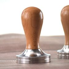 58.5mm Tamper Mech Precision Coffee Tamper Stainless Steel Flat Base Solid Wood