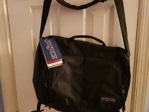"""NWT JANSPORT BLACK """" Network """" Messenger Shoulder Bag Laptop Bag Ships FREE"""