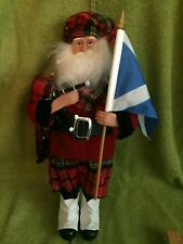 "16"" Scottish Bagpipes & Flag Santa Claus from Santa's Workshop Christmas Figure"