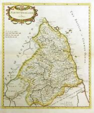 1695 Original Antique Map of NORTHUMBERLAND Robert Morden Rare 1st Issue COLOUR