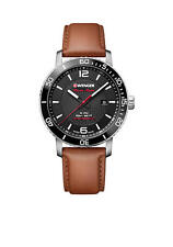 Wenger® Men's Roadster Black Night Brown Leather Watch 01.1841.105 Wristwatch