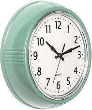 Wall Clock Green Kitchen Vintage Design Round Silent Non Ticking Battery