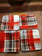 CIROA Porcelain Modern Contemporary Black Red PLAID Appetizer Snack Plates