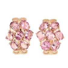 Oval Pink Tourmaline 5x4mm 14k Rose Gold Plate 925 Sterling Silver Earrings