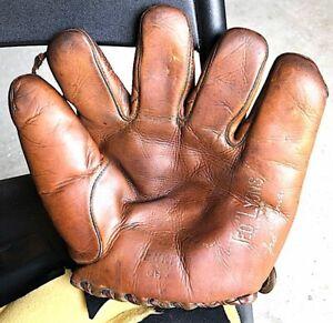 Vintage Ted Lyons Denkert Split Finger Glove SILVER