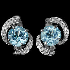GENUINE 8MM. AAA SKY BLUE TOPAZ ROUND & WHITE CZ STERLING 925 SILVER EARRING