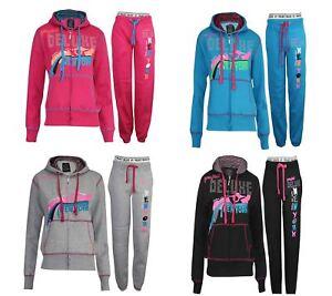Womens Tracksuit Ladies Sports Girls Sweatshirt Hoodie Gym Top Bottom Suit Set