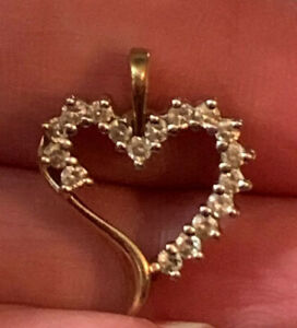 10K Yellow Gold  17 Round Natural DIAMOND HEART PENDANT 2.2gr. .34cttw