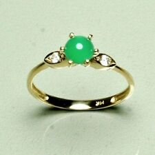 14k solid yellow gold 5mm cabochon natural green Jade ring size 6, 1.2 grams