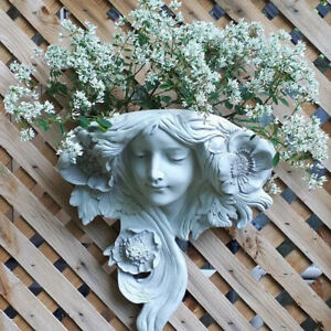 Mystic Maiden Wall Sculpture Planter Pockets Flower Arrangement Vases Home D.bl