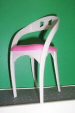 SIGNATURE HEAD Barbie Doll Plastic Pink  & WHITE MODERN CHAIR FREE SHIP 6 INCH