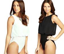 Womens Blouse Leotard Top Chiffon Loose Body Floating Bodysuit Sleeveless
