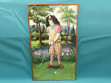 """Huge Lady Cocker Spaniel Golfer Painting by Scott Warshaw Collection 1972 * 60"""""""