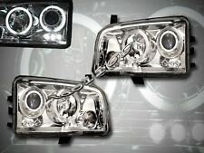 2006-2008 DODGE CHARGER DUAL HALO LED PROJECTOR HEADLIGHTS CHROME NEW