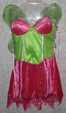 SEXY FAIRY COSTUME Adult Large 12-14 Pink Green Wings Tink Women Halloween NEW