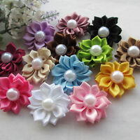 20pcs Lots  Satin Ribbon Flowers Bows W/Peal Rose Appliques Decor 35mm RB153