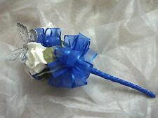 ROYAL BLUE &  IVORY BRIDESMAID / FLOWERGIRL WAND, WEDDING FLOWERS