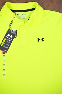 NWT Under Armour Performance Polo Shirt Fluorescent Yellow Men's Medium M